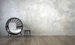 Leinwanddruck Bild - The interior design of lounge chairs and living room and concrete wall texture