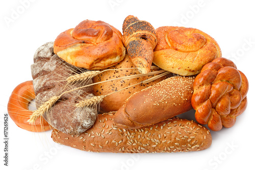 bread and bakery products isolated on white