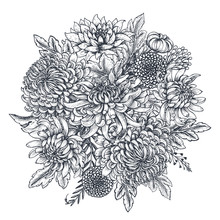 Vector Bouquet With Hand Drawn Chrysanthemum Flowers