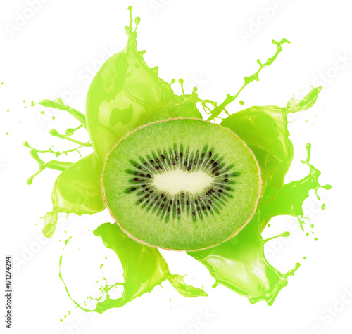 kiwi in juice splash isolated on a white background