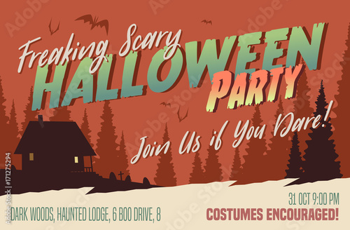 Scary Halloween Party Invitation Card Background Vector