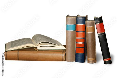 Fotografia, Obraz  Bücher nebeneinander und aufgeschlagen, freigestellt