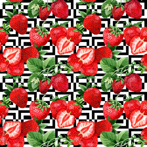 Strawberry healthy food pattern in a watercolor style  Full name of
