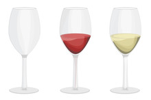 Empty Wine Glass, Red Wine Glass With White Wine. Vector Illustration. White Background