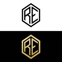 Initial Letters Logo Re Black And Gold Monogram Hexagon Shape Vector