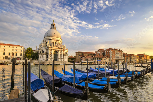 Plakat Wenecja kanał grande i gondoli łódź gdy zmierzch, Wenecja (Venezia), Włochy
