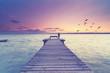 Frau steht am See auf einem Steg