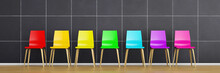 Row Of Colourful Chairs 3d Rendering