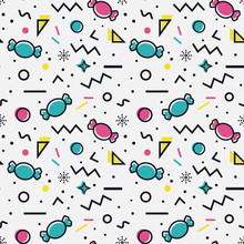 Candy Seamless Pattern In Memphis Style.