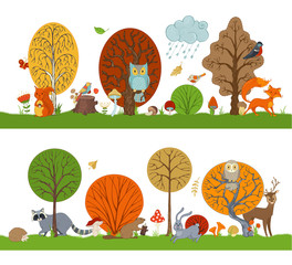Fototapeta Do przedszkola Vector forest set with autumn trees, cute animals and birds.