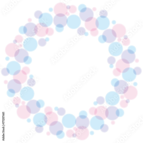 Fotografía  blue and rose color abstract bubble wreath vector illustration