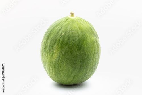 Barattiere melon on white background, a variety of melon cultivated in Apulia, Italy