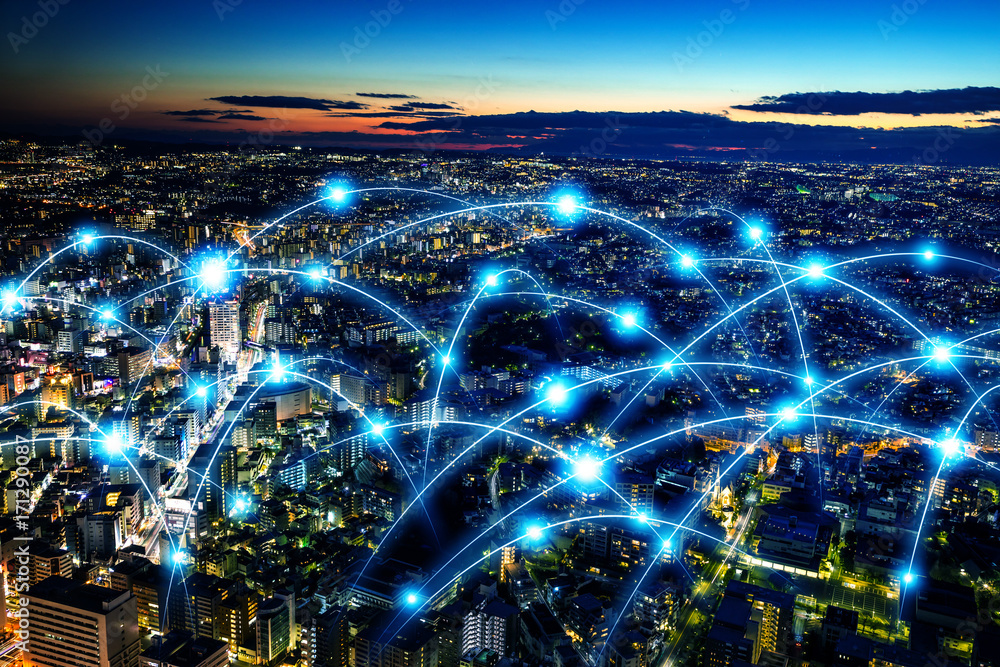 Fototapety, obrazy: Smart city and telecommunication network concept. abstract mixed media.