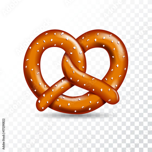 Realistic vector tasty pretzel illustration on the white transparent background Canvas Print