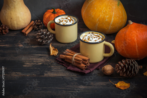 Canvas Prints Chocolate Hot Chocolate and Autumn Pumpkins