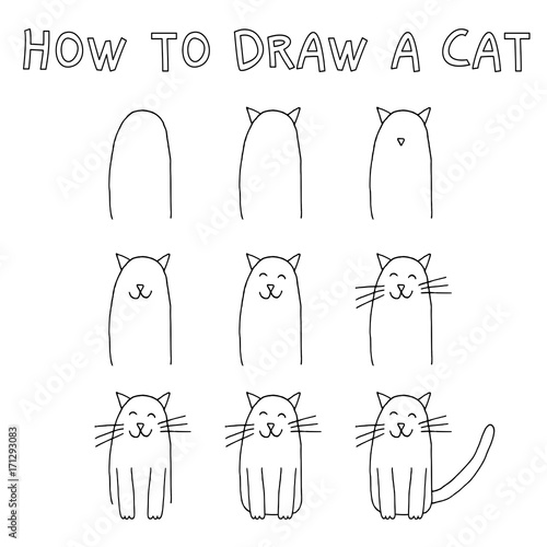Fotografie, Obraz  Drawing tutorial for children: How to draw a cat step by step