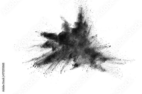 Türaufkleber Rauch Black powder explosion. Closeup of black dust particles explode isolated on white background.