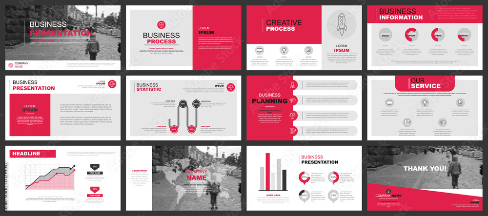 Fototapeta Business presentation slides templates from infographic elements. Can be used for presentation, flyer and leaflet, brochure, corporate report, marketing, advertising, annual report, banner, booklet.