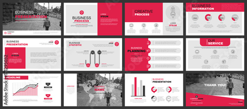 Fototapeta Business presentation slides templates from infographic elements. Can be used for presentation, flyer and leaflet, brochure, corporate report, marketing, advertising, annual report, banner, booklet. obraz