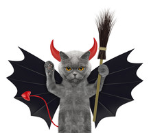 Cute Halloween Cat In Bat Devi...