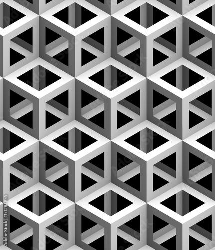 Zdjęcie XXL monochromatyczne geometryczne 3d tekstury na czarnym tle, bez szwu tapety dekoracyjne
