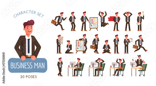 Set of successful Businessman character poses and activities design.