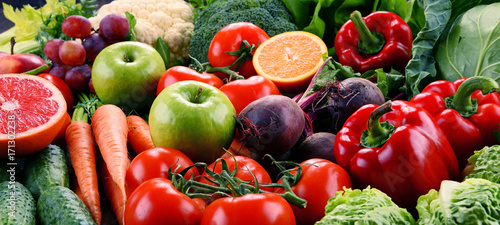 Assorted raw organic vegetables © monticellllo