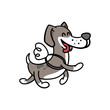 happy dog flies on the wings, illustration coloring pages for children