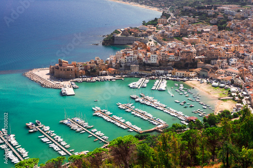 The amazing city and harbour of Castellammare del golfo, Sicily viewed from the top