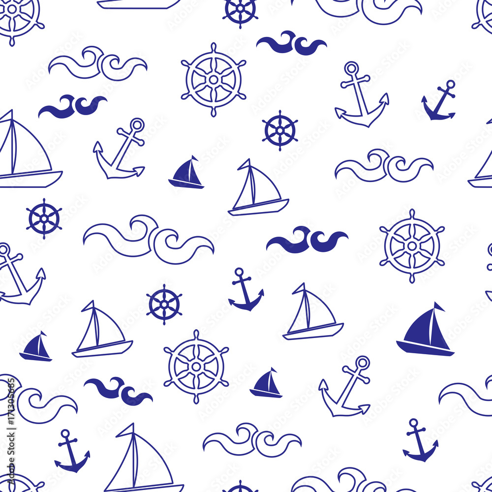 Beautiful marine seamless vector pattern