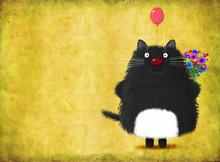 Black Smiling Cat Standing Wit...