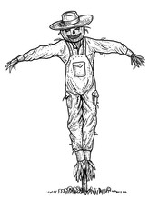 Scarecrow Illustration, Drawing, Engraving, Ink, Line Art, Vector