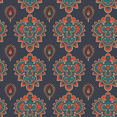 Paisley style indian colorful ornament. Vector illustration