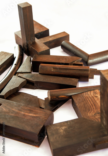 Fototapeta Wood products with tenon and mortise structure