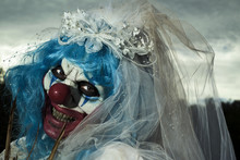 Scary Evil Clown In A Bride Dr...