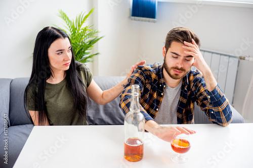 Fotografie, Obraz  Wife with alcoholic husband