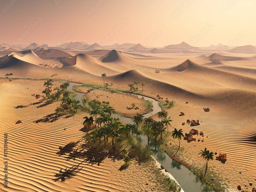Fototapeta Global temperature change concept. Lonely sand ridges under striking evening sunset sky at drought desert landscape 3d rendering