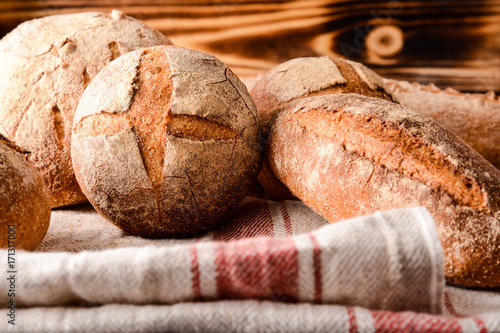 Foto op Canvas Brood Assortment of baked bread.