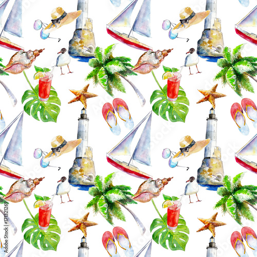 Cotton fabric Holidays summer background, hand-drawn watercolor seamless pattern on white background.