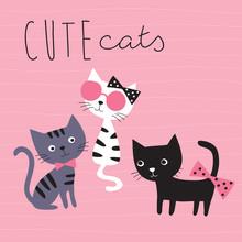 Pretty Cats Vector Illustration
