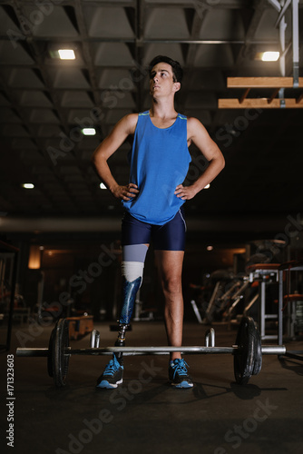 Portrait of disabled young in the gym. Canvas Print