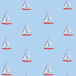 Watercolor seamless pattern with sailboats, bright hand-drawn summer background.