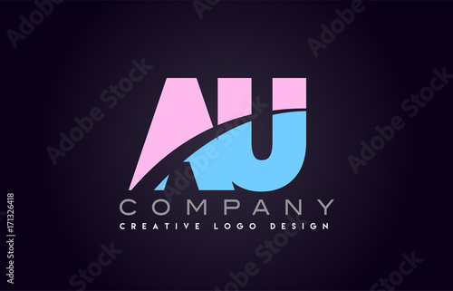 au alphabet letter join joined letter logo design Canvas Print