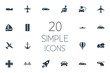 Vector Illustration Set Of Simple Shipment Icons. Elements Carriage, Jet, Electric Vehicle And Other Synonyms Workshop, Rocket And Cement.