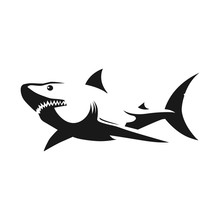 Shark Black Silhouette On White Background. Tattoo Template. Vector Illustration.