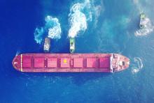Large Bulk Carrier Ship Pulled...