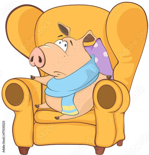 Deurstickers Babykamer Illustration of a Cute Pig. Cartoon Character