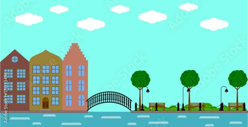 In de dag Groene koraal European old town with bridge on the river and park in summer