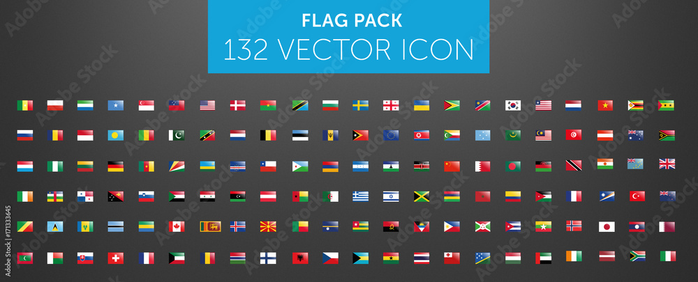 Fototapeta WORLD FLAG vector collection  with reflection 132 icon points
