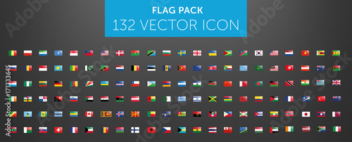 Fototapeta WORLD FLAG vector collection  with reflection 132 icon points  obraz